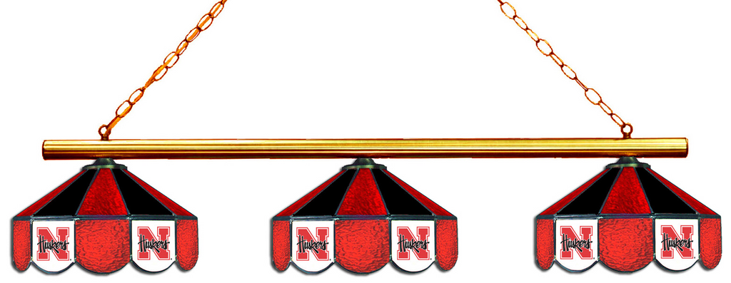 Nebraska Cornhuskers Stained Glass 3-Light Game Table Light - Gameroom Goodies Pool Table Lights