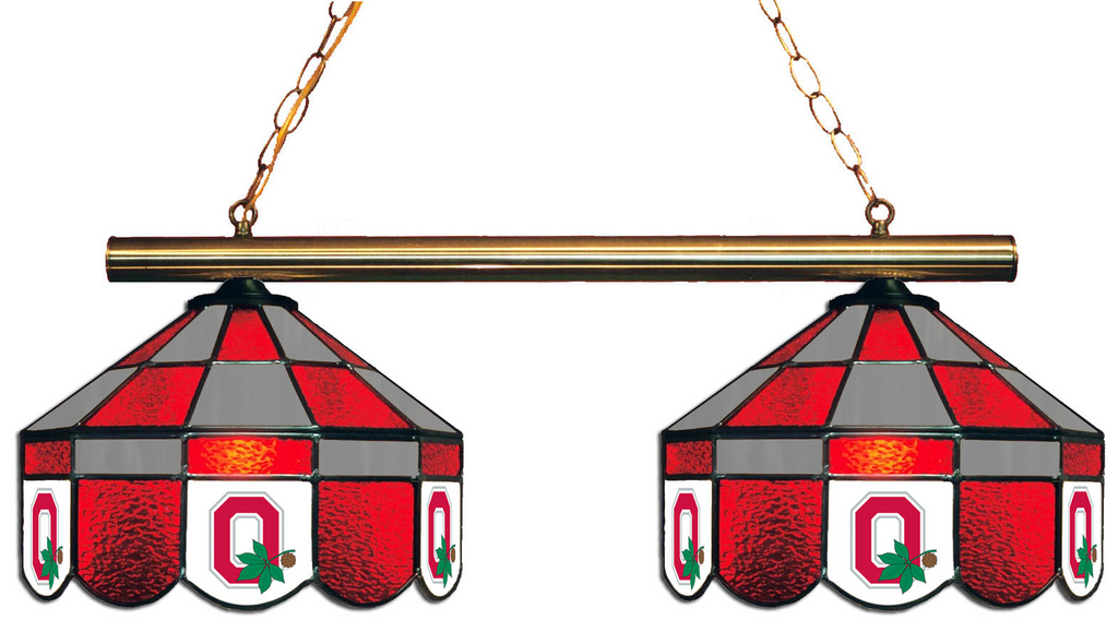 Ohio State Buckeyes Stained Glass 2-Light Executive Game Table Light - Gameroom Goodies Pool Table Lights
