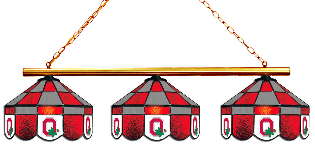 Ohio State Buckeyes Stained Glass 3-Light Executive Game Table Light - Gameroom Goodies Pool Table Lights