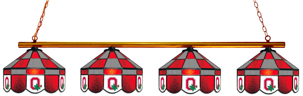 Ohio State Buckeyes Stained Glass 4-Light Executive Pool Table Light - Gameroom Goodies Pool Table Lights
