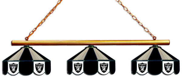 Oakland Raiders NFL Stained Glass 3 Shade Pool Table Light - Gameroom Goodies Pool Table Lights