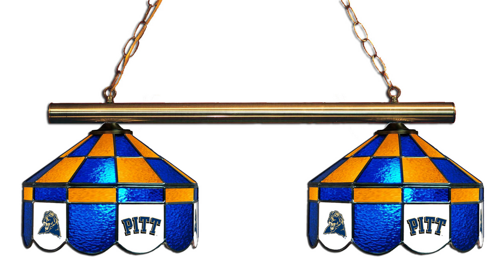 Pittsburgh Panthers Stained Glass 2-Light Executive Game Table Light - Gameroom Goodies Pool Table Lights