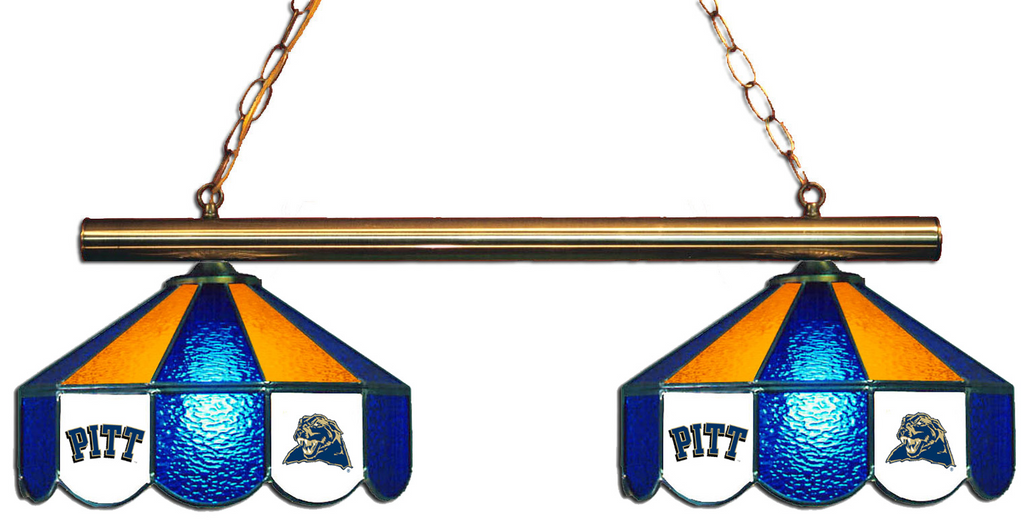 Pittsburgh Panthers Stained Glass 2-Light Game Table Light - Gameroom Goodies Pool Table Lights