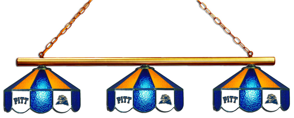 Pittsburgh Panthers Stained Glass 3-Light Game Table Light - Gameroom Goodies Pool Table Lights