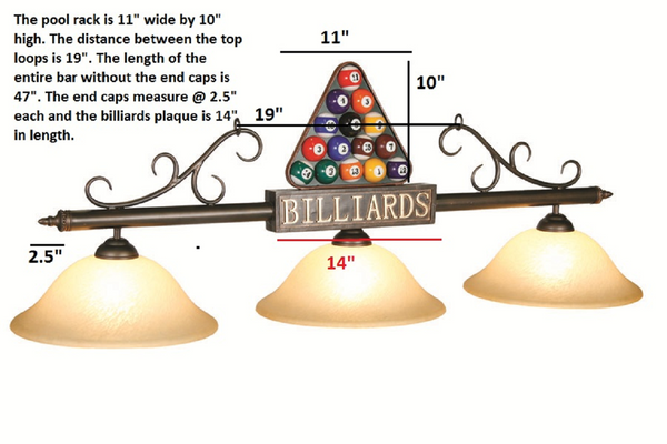 Billiard Rack Pool Table Light - Gameroom Goodies Pool Table Lights