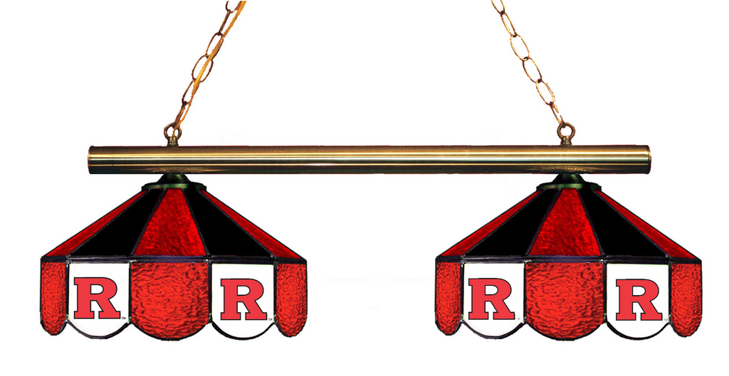 New Jersey Rutgers Stained Glass 2-Light Game Table Light - Gameroom Goodies Pool Table Lights