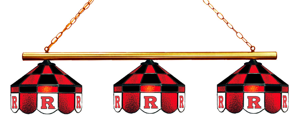 New Jersey Rutgers Stained Glass 3-Light Executive Game Table Light - Gameroom Goodies Pool Table Lights