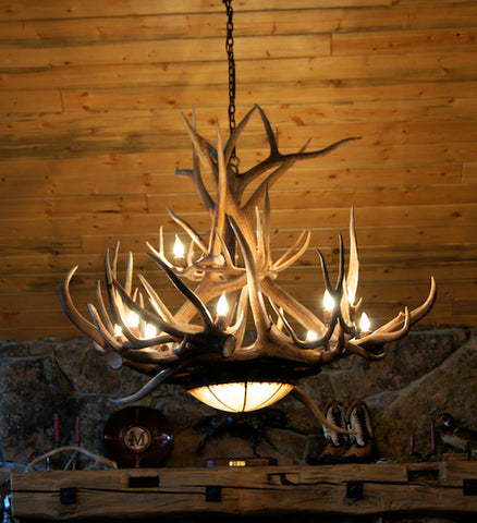 Rustic Antler Pool Table Light 36 Inch - 36 Inch / Distressed Iron Black--Frontier Iron Works - 1
