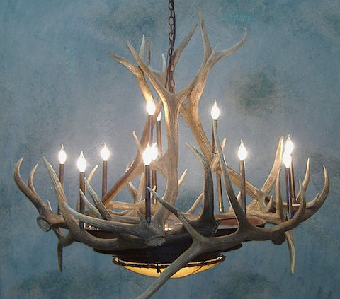Rustic Antler Pool Table Light 48 Inch - --Frontier Iron Works - 1