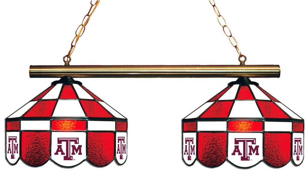 Texas A&M Aggies Stained Glass 2-Light Executive Game Table Light - Gameroom Goodies Pool Table Lights