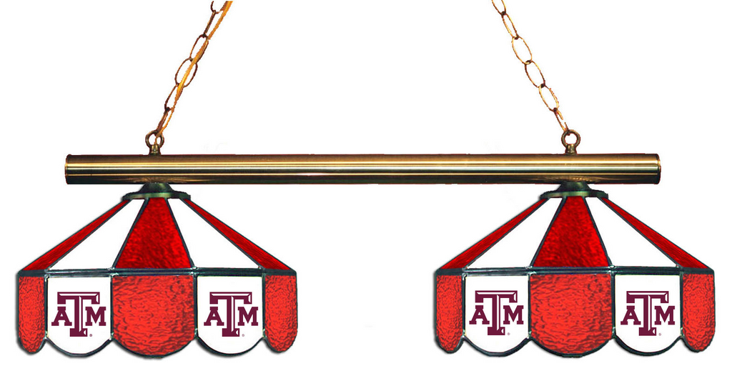 Texas A&M Aggies Stained Glass 2-Light Game Table Light - Gameroom Goodies Pool Table Lights