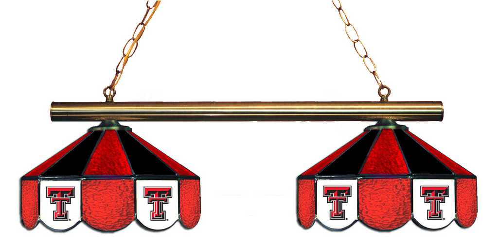 Texas Tech Red Raiders Stained Glass 2-Light Game Table Light - Gameroom Goodies Pool Table Lights