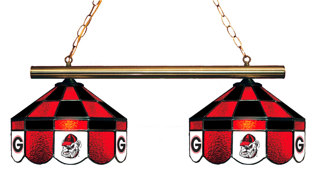 Georgia Bulldogs Stained Glass 2-Light Executive Game Table Light - Gameroom Goodies Pool Table Lights