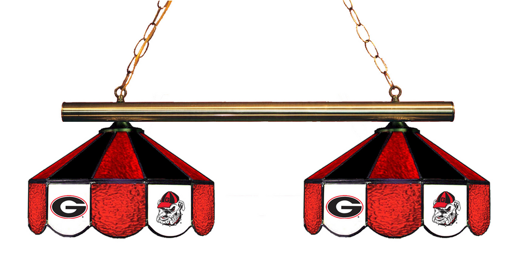 Georgia Bulldogs Stained Glass 2-Light Game Table Light - Gameroom Goodies Pool Table Lights