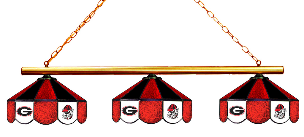 Georgia Bulldogs Stained Glass 3-Light Game Table Light - Gameroom Goodies Pool Table Lights