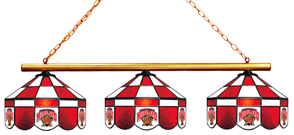 Maryland Terrapins Stained Glass 3-Light Executive Game Table Light - Gameroom Goodies Pool Table Lights