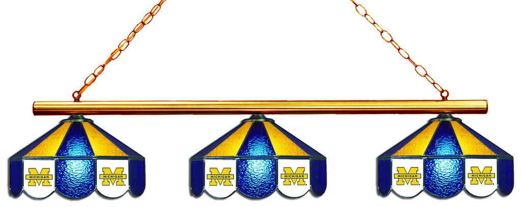 Michigan Wolverines Stained Glass 3-Light Game Table Light - Gameroom Goodies Pool Table Lights