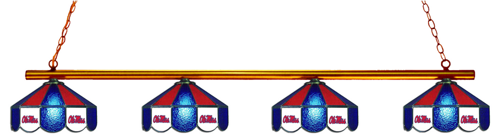 Mississippi Rebels Stained Glass 4-Light Pool Table Light - Gameroom Goodies Pool Table Lights