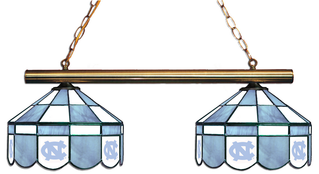 North Carolina Tar Heels Stained Glass 2-Light Executive Game Table Light - Gameroom Goodies Pool Table Lights