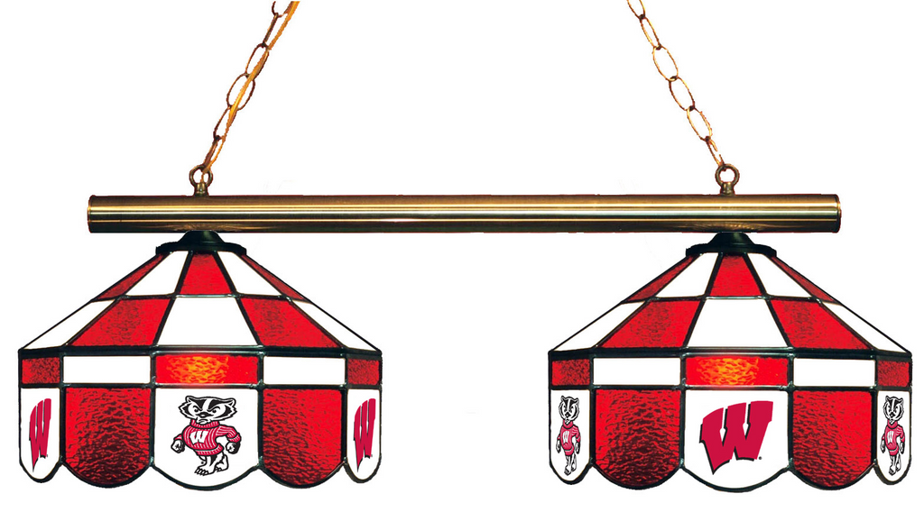 Wisconsin Badgers Stained Glass 2-Light Executive Game Table Light - Gameroom Goodies Pool Table Lights