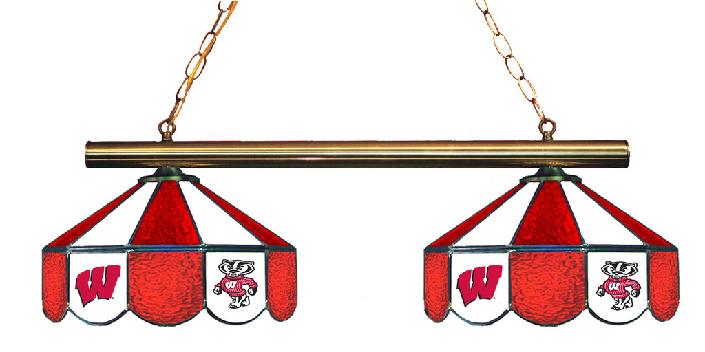 Wisconsin Badgers Stained Glass 2-Light Game Table Light - Gameroom Goodies Pool Table Lights