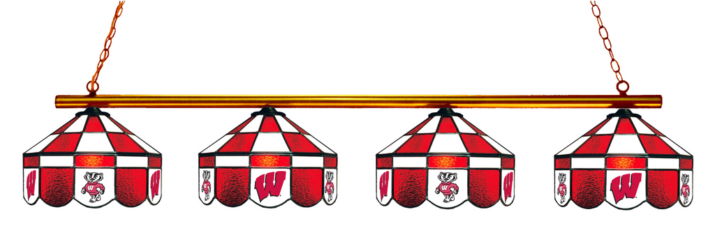 Wisconsin Badgers Stained Glass 4-Light Executive Pool Table Light - Gameroom Goodies Pool Table Lights