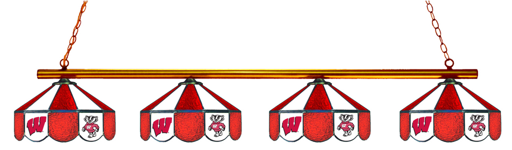 Wisconsin Badgers Stained Glass 4-Light Pool Table Light - Gameroom Goodies Pool Table Lights