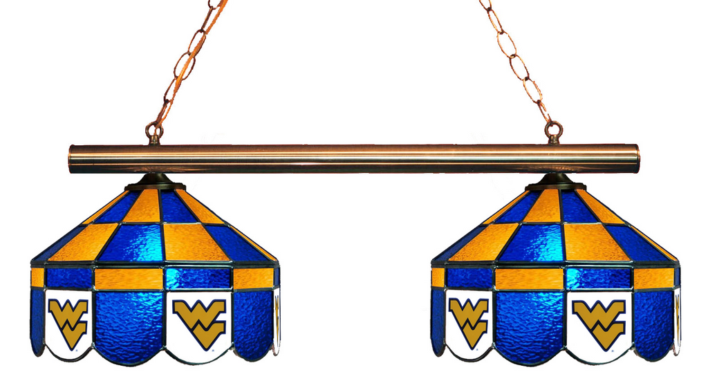 West Virginia Mountaineers Stained Glass 2-Light Executive Game Table Light - Gameroom Goodies Pool Table Lights