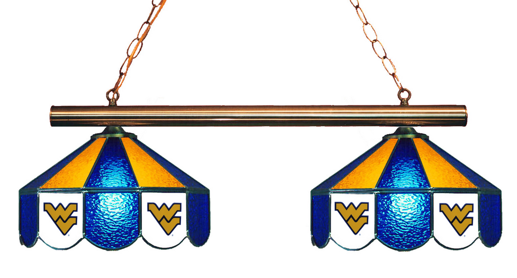 West Virginia Mountaineers Stained Glass 2-Light Game Table Light - Gameroom Goodies Pool Table Lights