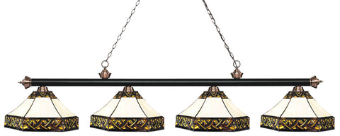 Riviera Tiffany 4 Shade Pool Table Light Black & Antique Copper 200-4MB+AC-Z16-30 - Gameroom Goodies Pool Table Lights
