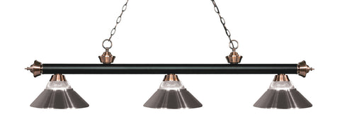 Rivera Pool Table Light 2 Matte Black U0026 Antique Copper/Glass And Brushed  Nickel Shade