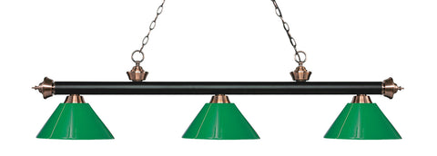 Rivera Pool Table Light Matte Black U0026 Antique Copper Green Shade   Gameroom  Goodies Pool Table