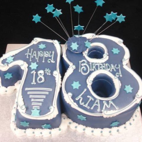 18th for a Boy Numbered Birthday cake