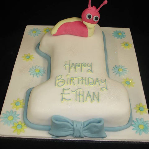 1st Caterpillar Numbered Birthday Cake
