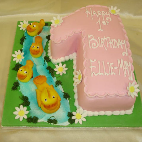 1st Ducks Numbered Birthday cake