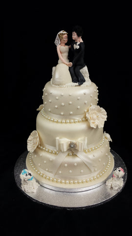 3 Tier  Wedding Cake With Bride & Groom