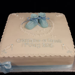 Baby Booties and flowers  Christening Cake