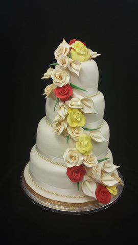 4 Tier Roses & Calla Lillys Wedding Cake
