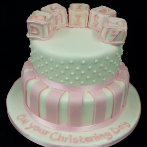 Two Tier Blocks Christening Cake
