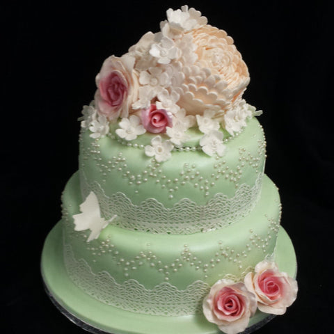 2 Tier Flower & Buttefly Wedding Cake