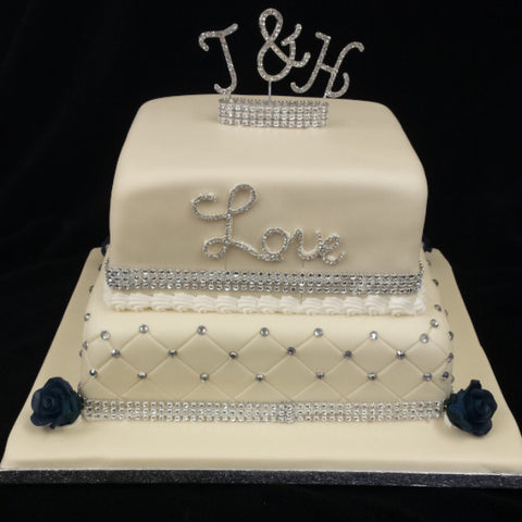 2 Tier Diamante Wedding Cake