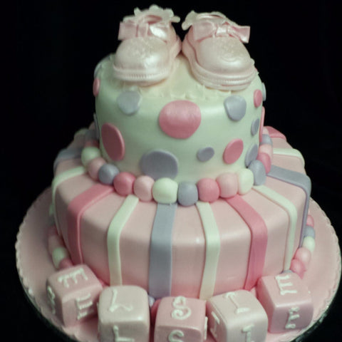 Two Tier Booties Christening Cake