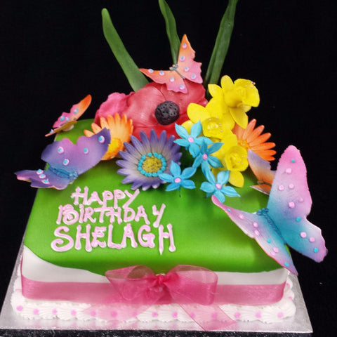 Mixture Of Flowers Birthday Cake