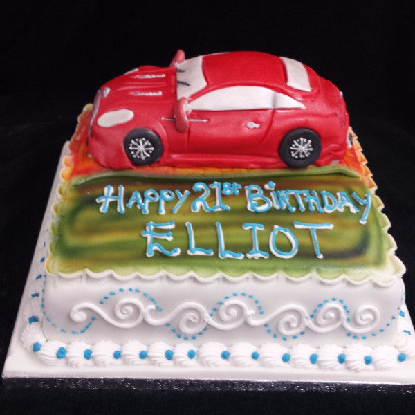 Awesome Red Car Birthday Cake Celticcakes Com Personalised Birthday Cards Bromeletsinfo