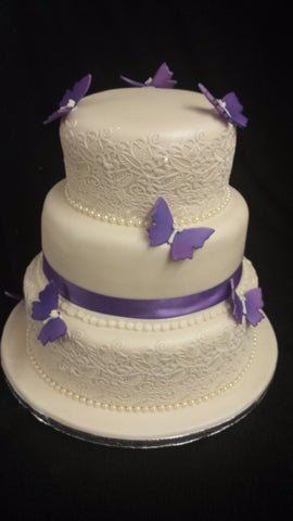 Lace & Butterfly Wedding Cake