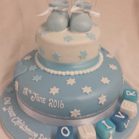 Two Tier Blue Booties Christening Cake