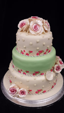 3 Tier Wedding Cake With Roses