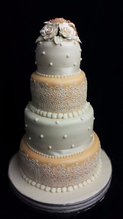 4 tier lace Wedding Cake
