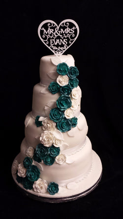 4 Tier Cascading Roses// Wedding Cake