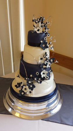 4 Tier Navy & White  Wedding Cake